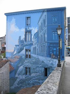 Angouleme murals 18 by Three-Legged-Cat 3d Street Art, Murals Street Art, Amazing Street Art, Street Art Graffiti, Street Artists, Graffiti Artists, Banksy, Street Installation, Light Installation