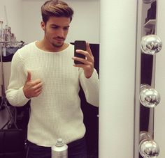Every man must own a plain white woven sweater