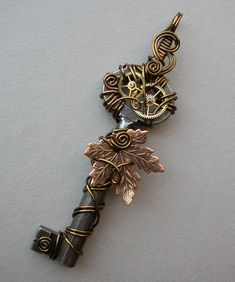 Falling Maple Leaf Clockwork Key Pendant A by silverowlcreations, $46.00