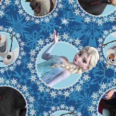 Congelados polar - personajes congelados de Disney en camafeos en paño grueso y suave - Olaf, Sven, Ana, Elsa, Kristov - azul, estrellas