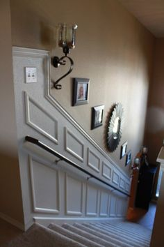 Moulding to Your Staircase - Decor Chick Guest Post how to add moulding/wainscoting to a stairway.how to add moulding/wainscoting to a stairway. Stairwell Wall, Stairway Walls, Stairway Lighting, Staircase Molding, Staircase Makeover, Staircase Design, Modern Staircase, Moulding, Stairway Decorating