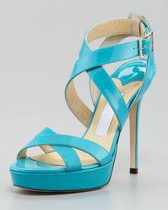 Jimmy Choo Vamp Crisscross Sandal, Turquoise on shopstyle.com