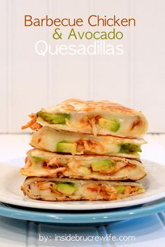 Shredded barbecue chicken and avocados in a cheese quesadilla.  Quick and easy meal!