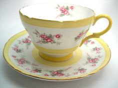 Antique SHELLEY Tea Cup And Saucer, Pink flowers, Fine bone china, Pink and White teacup, English tea cup set. by AntiqueAndCrafts on Etsy