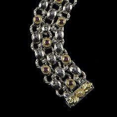 Laurel Leaf Bracelet custom handmade Sterling Silver, 18 k Gold, Enamel and  more.