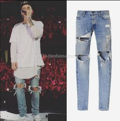 Dios de Justin Bieber Miedo Miedo de Dios Mejor Versión NIEBLA hombres Zipper Destruida Orillo Visita Flaca de Los Pantalones Vaqueros Adelgazan Los Pantalones Vaqueros Azules ajuste