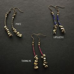 boho earrings with pyrite stones and little precious stone ebbijoux orecchini boho con pirite