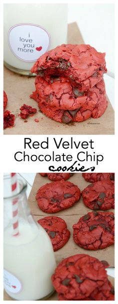 Red-Velvet-Cookies Make these delicious Red Velvet Chocolate Chip Cookies for Valentine's Day! Or make them on an ordinary day! Free I Love You More Printable tags.