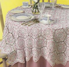 Rosebud Tablecloth Crochet Pattern 66 Inches Round Hexagon