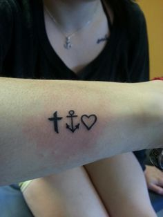 My sister and I's tattoo. Faith, hope, and love<3