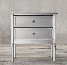 RH's Spencer Metal Closed Nightstand:Capturing the functional simplicity of early century furnishings, we've updated our dresser by wrapping it in metal for an industrial, zinc-like patina that grows richer with time. City Bedroom, Home Bedroom, Bedroom Decor, Master Bedrooms, Bedroom Ideas, Dressing Table Shelves, Kitchen Seating, Bedroom Night Stands, Restoration Hardware