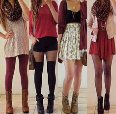 Absolutely loving these reddish outfits! Red/purple is a great color for fall!!