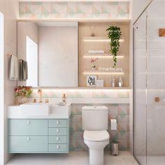 Banheiro | Impossível não se apaixonar por este projeto! O banheiro das meninas ganhou azulejos coloridos, móvel farmacinha atrás do…
