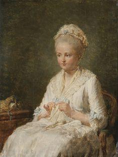Nicolas-Bernard Lépicié PORTRAIT OF A YOUNG LADY SEWING, CALLED PORTRAIT OF MADAME LAGRENÉE
