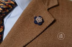 Wool felt lapel pin in navy and beige by ASDFstyle on Etsy