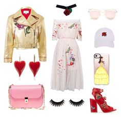 """Red rose"" by francesca-occhialini on Polyvore featuring moda, Temperley London, Laurence Dacade, Valentino, Quay, Gucci, Armitage Avenue e Casetify"
