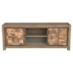 Crafted from eco-friendly teak wood, this rustic media console showcases 2 mosaic-inspired doors, while interior shelving and 2 open tiers offer essential st...