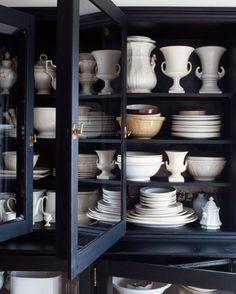 white dishes in dark cabinet Apartment Therapy, Kitchen Design, Kitchen Decor, Kitchen Dresser, Stil Inspiration, Morning Inspiration, Ikea, White Dishes, Black Cabinets