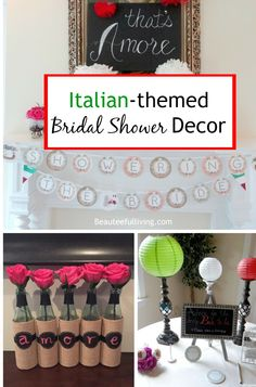 Italian themed bridal shower l Beauteeful Living (wine and cheese party attire) Italian Wedding Themes, Italian Themed Parties, Wedding Shower Decorations, Engagement Party Decorations, Italian Bridal Showers, Honeymoon Shower, Italian Honeymoons, Bachelorette Party Themes, Couple Shower