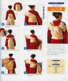 Tagged with kimono, obi tying; Tying a Fukura Suzume Obi