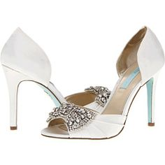 """Betsey Johnson Gown - Ivory Satin Open Toe D'Orsay Stilletto Pumps with Rhinestone """"Diamond"""" Bow #something_blue"""