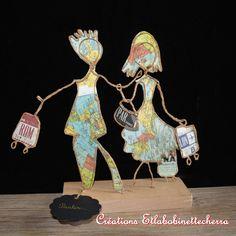 sculpture fil de fer et papier, figurine poétique, voyage, partir, kraft armé, OOAK, fait-main, cadeau pour amis, cadeau amateurs voyage