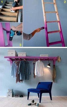 DIY Shelves Easy DIY Floating Shelves for bathroom,bedroom,kitchen,closet DIY bookshelves and Home Decor Ideas Easy Home Decor, Cheap Home Decor, Craft Ideas For The Home, Home Decoration, Ladder Storage, Diy Ladder, Ladder Shelves, Ladder Hanger, Storage Ideas