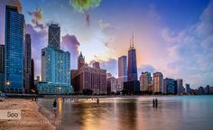 Chicago Night Skyline by LevKPhoto. Please Like http://fb.me/go4photos and Follow @go4fotos Thank You. :-)