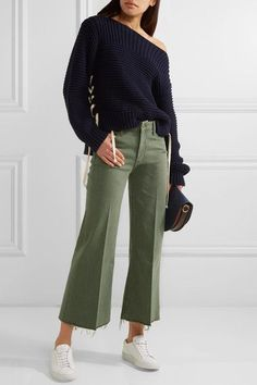 Mother - The Roller Cropped Mid-rise Flared Jeans - Army green - 25