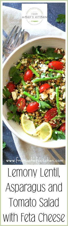 Lemony Lentil, Asparagus and Tomato Salad with Feta Cheese is light, healthful and will go with just about anything! via @chefcarolb