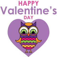 Cute t shirt designs - Happy Valentine's Day Colorful Owl Purple Heart tshirt