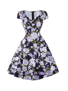 #AdoreWe #JustFashionNow Party Dresses - Designer fugu Dark Blue Floral Print A-line Vintage V Neck Cotton-blend Dress - AdoreWe.com