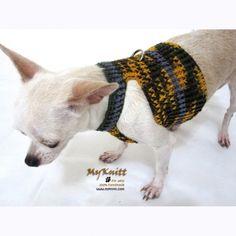 dog harness leash lead grey mustard dog sport walking by myknitt #handmade #crochet #pet #knit #crochet #chihuahua #etsyteam #tagt