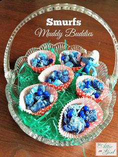 Make your own Smurfs: The Lost Village Muddy Buddies Plus Giveaway Great Recipes, Snack Recipes, Snacks, Muddy Buddies Recipe, Lost Village, Easter Pictures, Sweet Sauce, Holiday Parties, Kids Meals