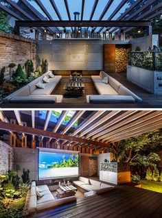 15 Outdoor Conversation Pits Built For Entertaining // This high-tech conversation pit features comfy seating, a retractable screen for the projector and a built in fireplace.