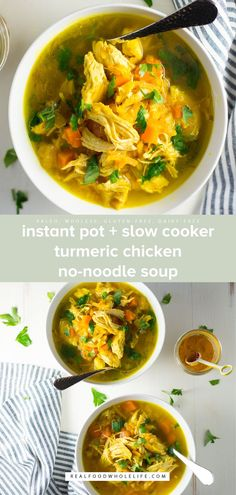 Packed with chicken veggies and good-for-you turmeric Instant Pot Slow Cooker Turmeric Chicken No-Noodle Soup is warming nourishing and so delicious!This healthy recipe is Naturally Gluten-Free Dairy-Free Egg-Free Nut-Free Grain-Free Paleo and Friendly! Slow Cooked Meals, Slow Cooking, Slow Cooker Recipes, Crockpot Recipes, Soup Recipes, Chicken Recipes, Cooking Bacon, Roast Recipes, Cooking Light