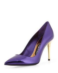 X1WCM Tom Ford Low-Heel Pointed-Toe Metallic Pump, Purple