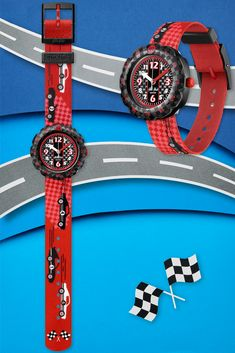 3 2 1 GO ! (ZFPSP044) is a gift that is guaranteed to brighten up its owner's wrist every day. With race cars zooming towards the finishing flag on the strap, this is the Swiss watch for kids who long to live in the fast lane. The rotating bezel makes it a crazy adventure to learn to read the time, while the BPA parts put safety first. Red, black and white for a striking style. Red Black, Black And White, Swiss Watch, Safety First, Learn To Read, Race Cars, Flag, Racing, Adventure