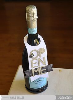 Open Me Wine Bottle Tag {Studio Calico December Kit} by mbelles - Cards and Paper Crafts at Splitcoaststampers Wine Bottle Tags, Wine Bottle Covers, Wine Tags, Wine Bottle Crafts, Wine Bottles, Simply Stamps, Wine Gifts, Studio Calico, Watercolor Postcard