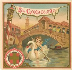 EL GONDOLERO $18  cigar box label, cigar labels, antique, stone lithography, vintage collectible, love and romance