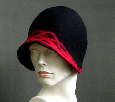 Cloche felt hat Felted Hat Cloche hat Black hat Fedoras Flapper Victorian Felt hat women hat Wool embroidered OOAK by Feltpoint on Etsy Supernatural Style Caps Hats, Women's Hats, Cloche Hats, 1920s Hats, Flapper Hat, Love Hat, Black Felt, Felt Hat, Red Hats