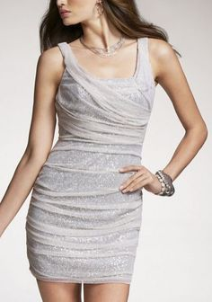 Express Sequin Rouched Sleeveless Dress