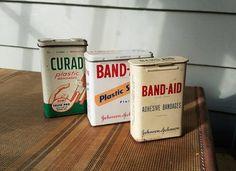 Vintage bandage tins Band-Aid Curad plastic by FiretouchVintage