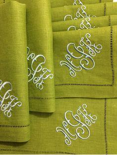 Gwyn monogrammed napkins. www.bellalino.com
