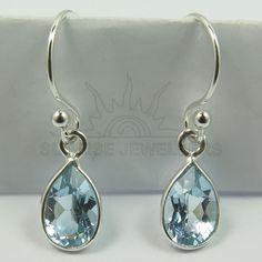 925 Solid Sterling Silver Natural BLUT TOPAZ Pear Gemstones Cute Drop Earrings #SunriseJewellers #DropDangle