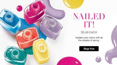 Get ready for flip flops and sandals with this great sale on nail enamel! Avon Nail Polish, Avon Nails, Nail Polish Bottles, Nail Polish Colors, Gel Nails, Mani Pedi, Manicure, Cosmic Nails, Makeup Shop