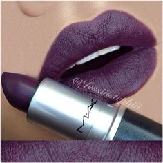 "I'm a sucker for a dark lip!!!!LIP SWATCH by ✨@jessiiistephiii✨  MAC ""Smoked Purple"""
