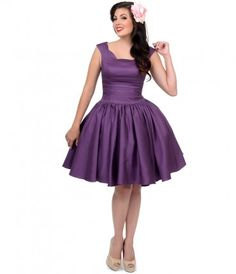 This #retro purple party dress is plucky enough for any leading lady. #pinup #uniquevintage
