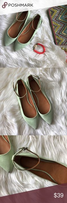 "Madewell Mint Pointy Flats Modern and feminine. Suede Flats with thin, removable ankle strap and a chic pointed toe. 1/4"" rubber heel. Suede upper, leather lining, & man made sole. Imported. Comfy and true to size. Cannot model. Please see pictures for items accurate description. Sold out on Madewell website. Bundle for 15% off. Offers are welcome. Madewell Shoes Flats & Loafers"