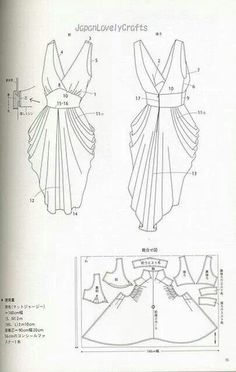 Japanese sewing pattern for a women\'s dress. Learn more about Japanese sewing patterns and books at www. Japanese Sewing Patterns, Dress Sewing Patterns, Clothing Patterns, Drape Dress Pattern, Bodice Pattern, Apron Patterns, Curtain Patterns, Design Patterns, Sewing Hacks